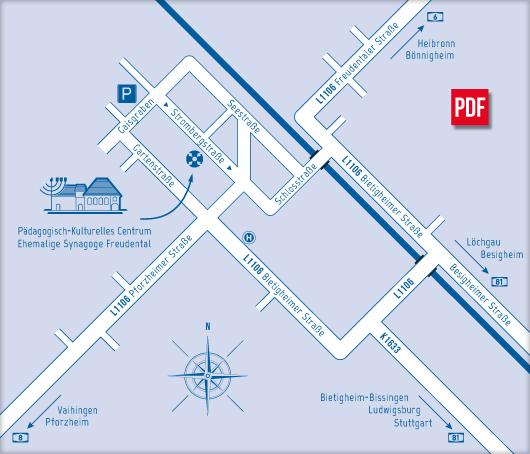 Dieses Bild zeigt eine Karte von Freudental mit dem PKC und den Parkmöglichkeiten für eine leichte Anreise.